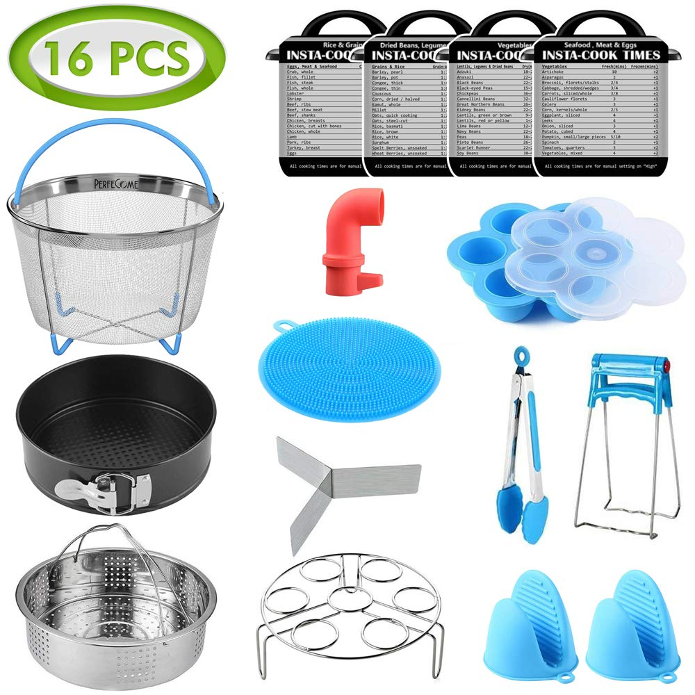 PerfeCome, Pressure Cooker Accessories for Instant Pot 6qt & 8qt Set - Fits Ninja Foodi, InstaPot, and Other - Stainless Steel Steamer Basket, Kitchen Tongs, BPA Silicone Egg Mold and more