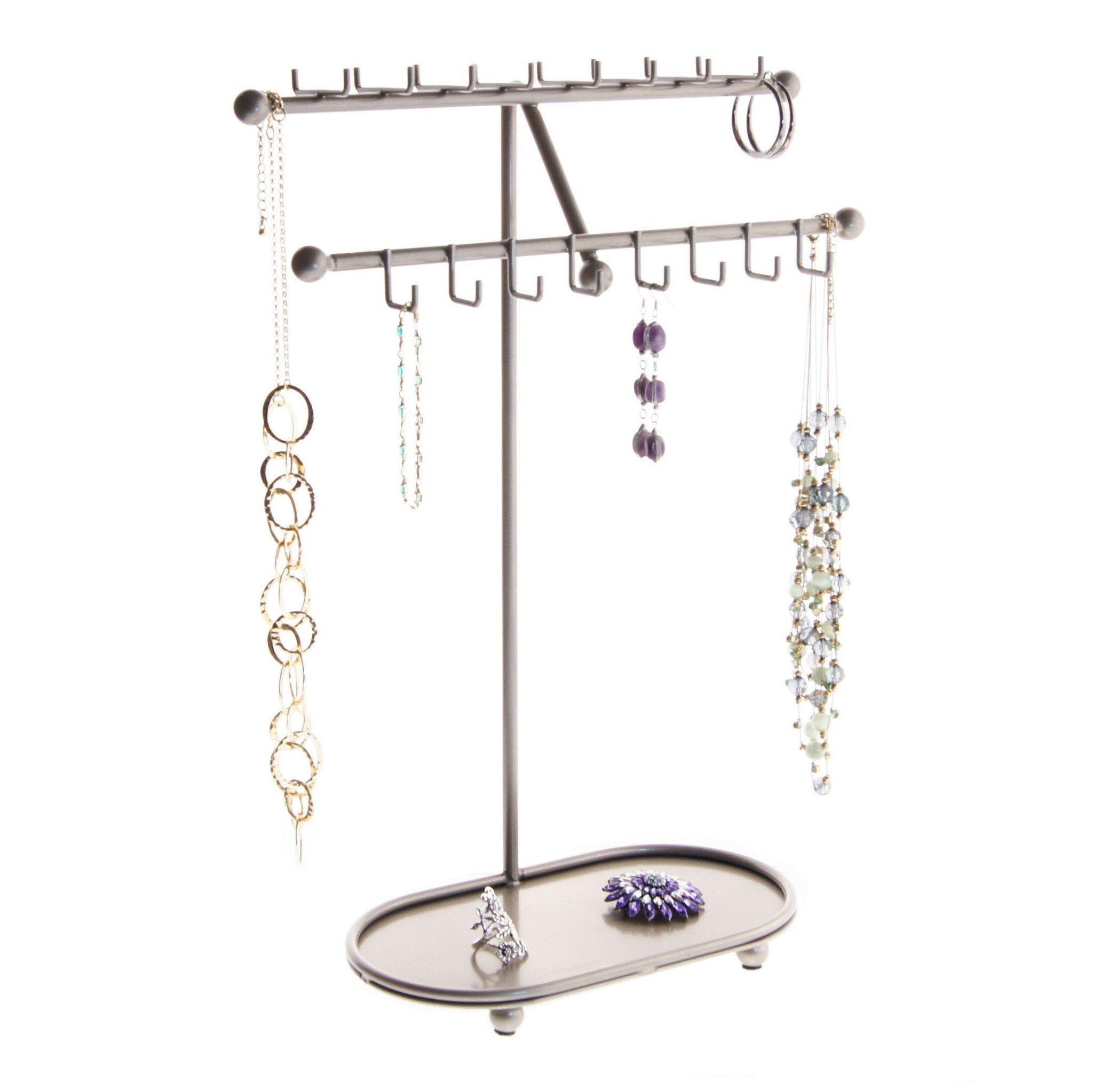 Angelynn's Necklace Holder Organizer Jewelry Tree Stand Storage Rack, Sharisa Satin Nickel Silver by Angelynn's (Image #1)