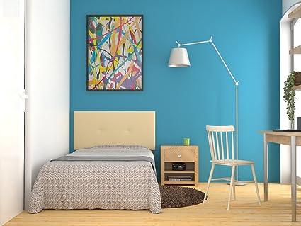 LA WEB DEL COLCHON Cabecero de Cama tapizado Acolchado Juvenil Julie 115 x 55 cms. para Camas de 80, 90 y 105 cms. Polipiel Color Beige. Incluye ...