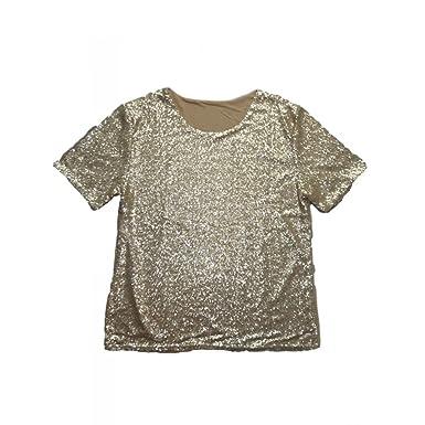000c65daea24e5 Unique Boutique - Goldenes Pailletten-Shirt Gr. 44-48 Edles Shirt Glimmer  Gold