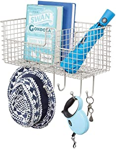 mDesign Metal Wire Farmhouse Wall Decor Storage Organizer Divided Basket with 6 Hooks for Entryway, Hallway, Mudroom, Bedroom, Bathroom, Laundry Room - Wall Mount - Satin
