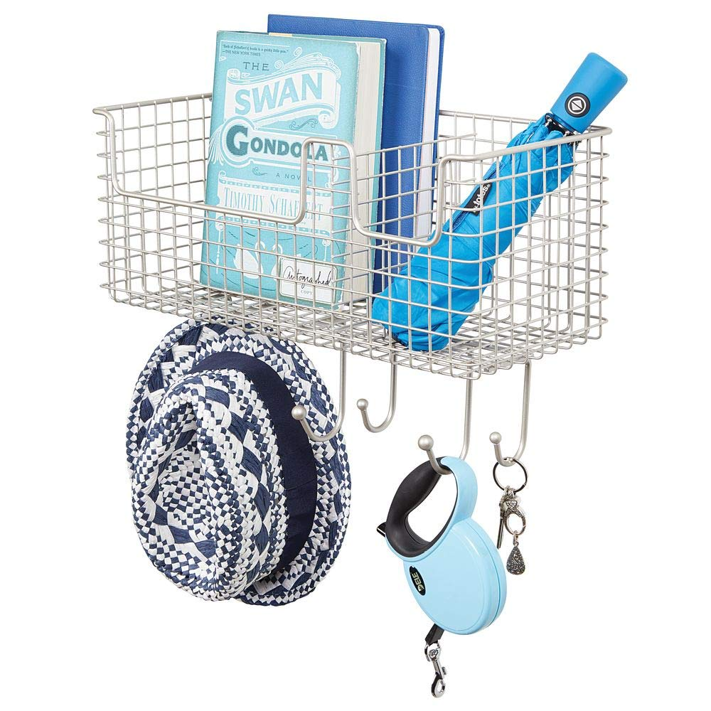 mDesign Letter Storage with Basket for Hall and Kitchen Mounted Key Hooks Bronze Compact Metal Key Rack with Basket for Post and Six Hooks