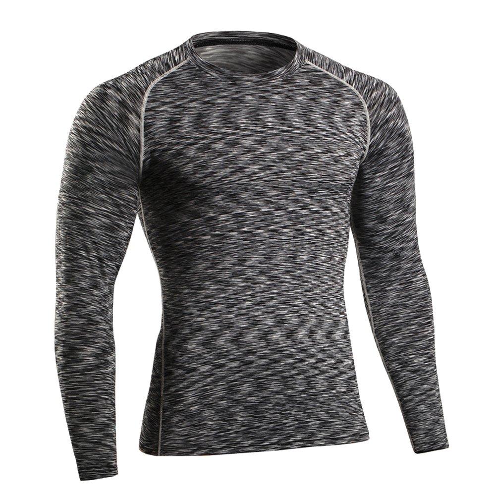 ZhuiKun Uomo T-Shirt Sportiva a Compressione Maglietta Maniche Lunghe Running Palestra Fitness Maglia