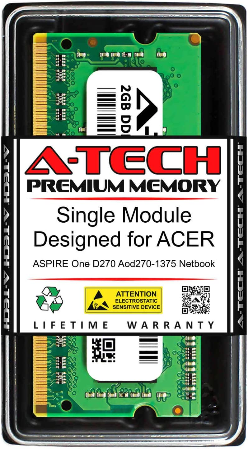 A-Tech 2GB RAM for ACER Aspire ONE D270 AOD270-1375 Netbook | DDR3 1333MHz SODIMM PC3-10600 204-Pin Non-ECC Memory Upgrade Module