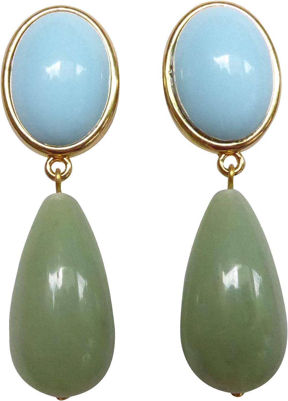 Pendientes de clip de color turquesa-verde, muy grandes, dorados, con piedra azul turquesa, colgante de jade verde con forma de gota, regalo para mujeres, diseñador JUSTWIN