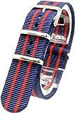 ( ネイビー/レッド 20mm ) NATOタイプ 時計ベルト 腕時計ベルト ナイロン 2PiS 交換マニュアル付