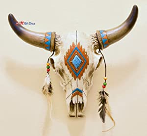 BestGiftEver Wall Hanging Rustic Southwest Bull Skull with Feathers, Beads & Faux Turquoise Stone