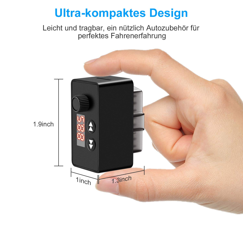 kungfuren OBD2 Diagnoseger/ät Blutooth 4.0 Adapter mit FM Transmitter Auto Bluetooth f/ür IOS und Android OBD2 Diagnose Scanner 16-Pin OBDII-Schnittstelle f/ür Lesen und L/öschen Fehlercode