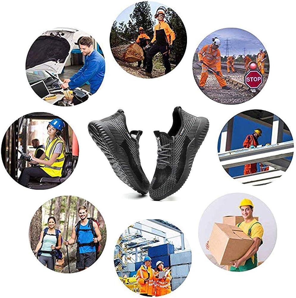 SUADEEX Arbeitsschuhe Sicherheitsschuhe Herren Damen S3 Leicht Schutzschuhe mit Stahlkappe Schuhe Anti-Smashing Anti-Piercing Atmungsaktiv Sportlich Sneaker 36-48EU