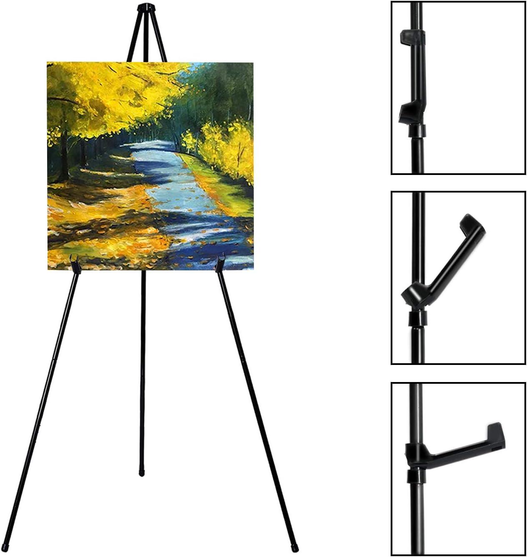 VAIIGO Cavalletto Pittura portatile cavalletto regolabile in metallo per pubblicit/à fiere Altezza 168 cm cavalletto pittura 2Packs Nero