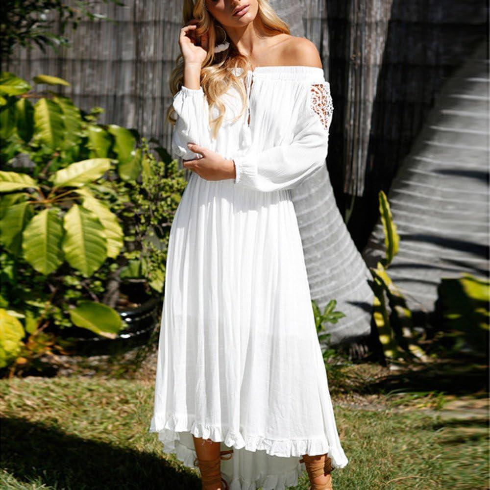 ZSBAYU Elegant Women Dresses,Sale Casual Solid Off Shoulder Lace Up Patchwork Elastic Band Long Sleeve Boho Beach Maxi Dress