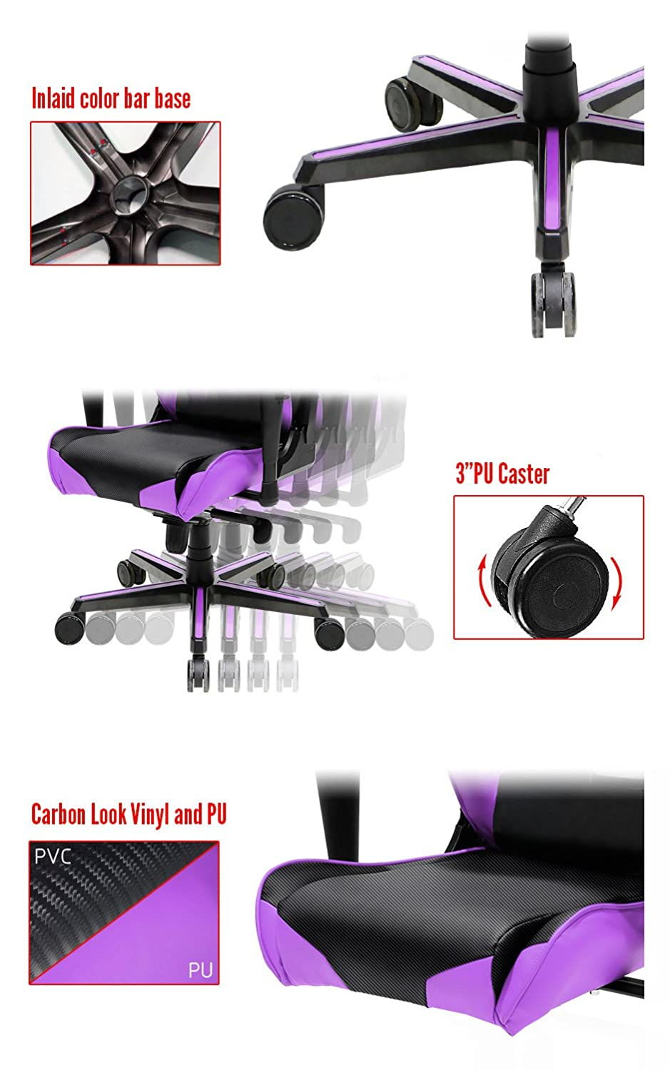 Dxracer Oh Rv001 Racing Bucket Seat Office Chair Gaming Series Nv Black Violed Ergonomic With Lumbar Support Violet Kitchen Dining