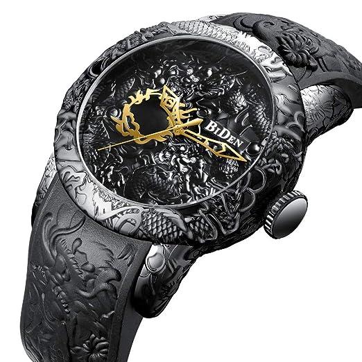 Relojes De Pulsera,Alivio De La Moda Dragón Chino Dragón Reloj Moda Cómodo Reloj De Pulsera Negro: Amazon.es: Relojes