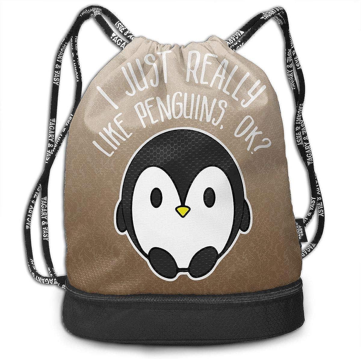 I Just Really Like Penguins Ok Drawstring Bag Multifunctional String Backpack Custom Cinch Backpack Rucksack Gym Bag