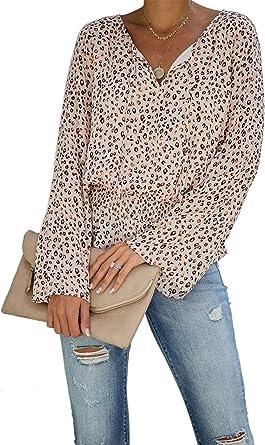 Camisas de Mujer Blusa Suelta Cuello en V Chic Leopardo Ancha Manga Larga Camisetas Casuales: Amazon.es: Ropa y accesorios