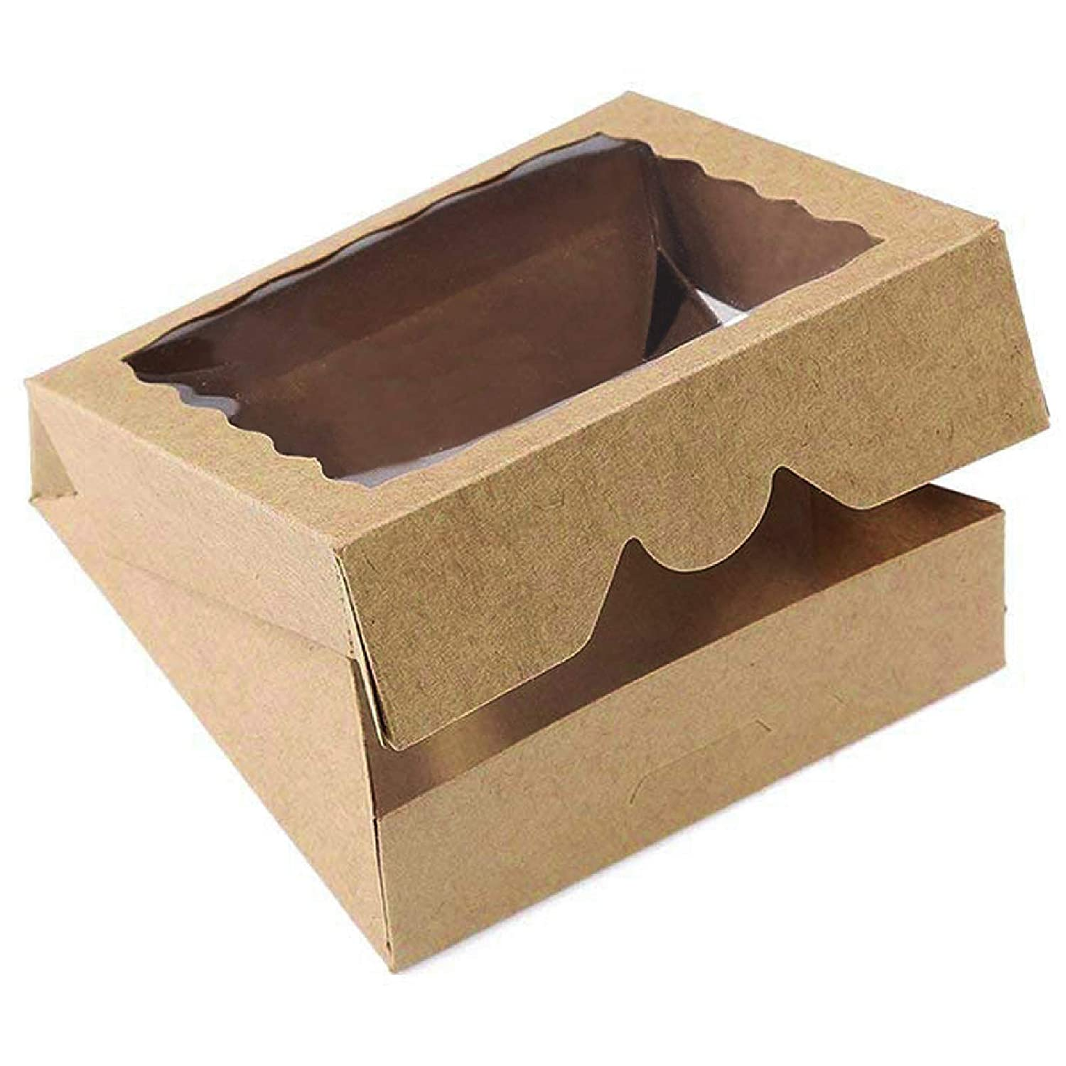 [15pcs]9inch Kraft Bakery Boxes,ONE MORE Large Pie Boxes with PVC Window Natural Disposable Box for Cookie 9x9x2.5inch,15 of Pack