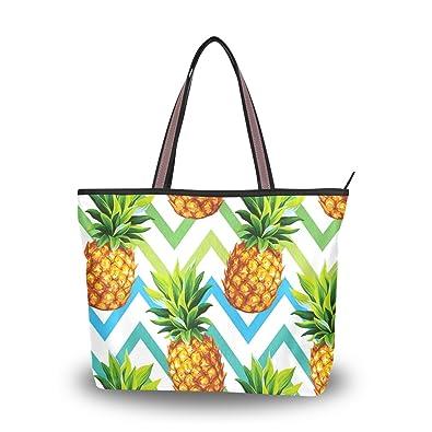 698eec457f ALAZA Cute Summer Pineapple Green Tote Top Handle Shoulder Bags Large  Handbags for Women Ladies M
