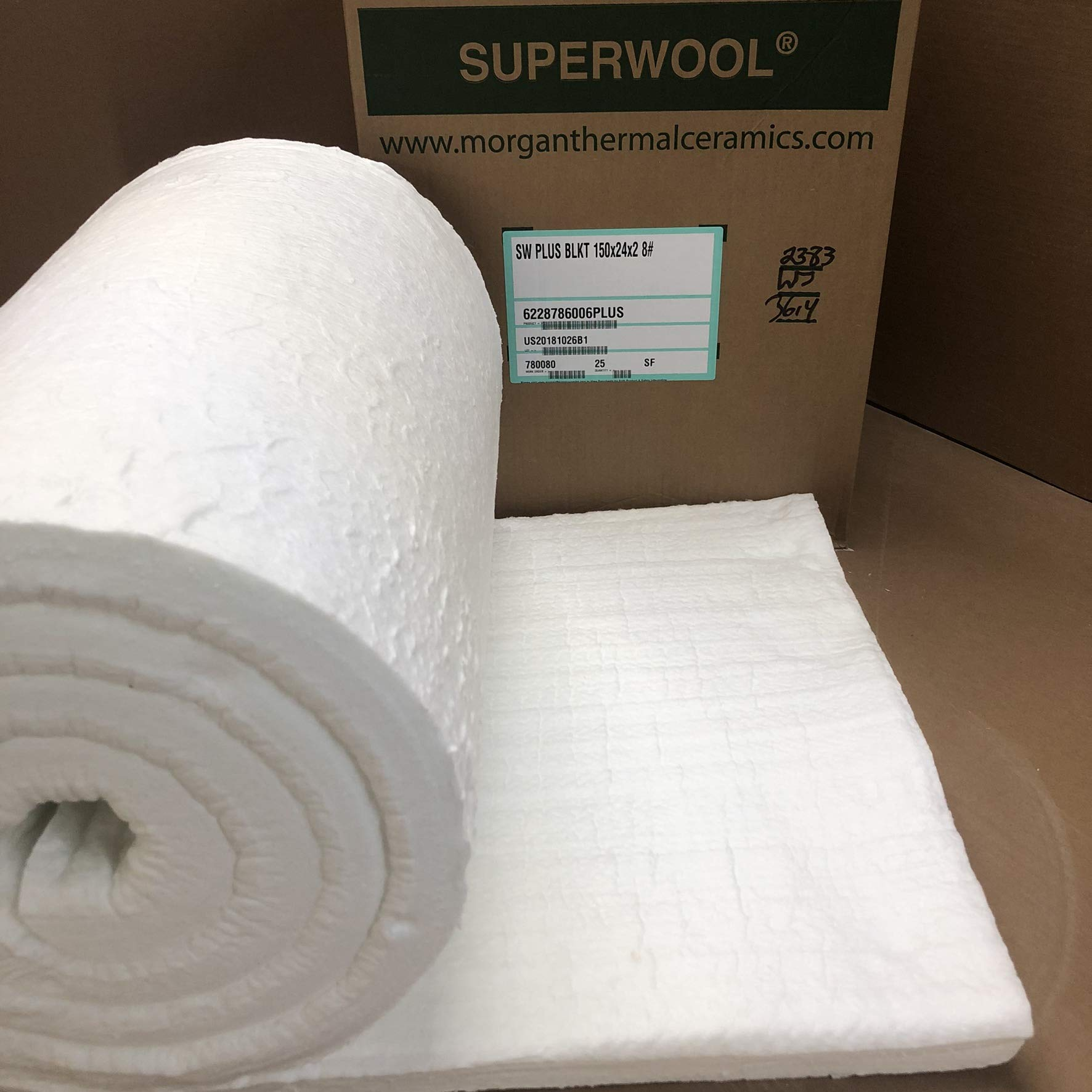 Lynn Manufacturing 2'' Thick, Superwool Plus Blanket, Morgan Thermal Ceramics, 2100F Rated, 8 Lb. Density, 24'' Wide, 12.5 Ft. Long by Lynn Manufacturing