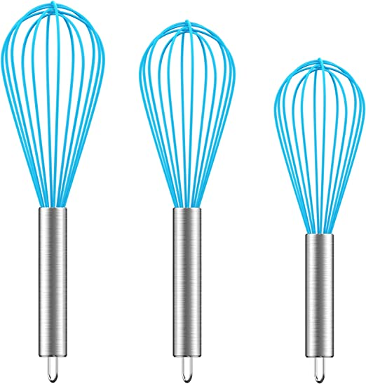 Blending Whisking Beating Stirring 3 Pack Stainless Steel Whisks 8+10+12 Upgraded Sturdy Wire Whisk Set Kitchen Wisk Whisks for Cooking Ouddy