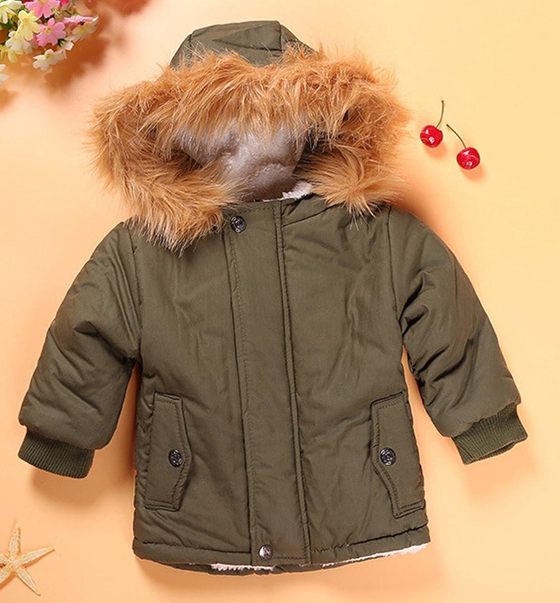 FAYALE Toddler Baby Boy Winter Warm Jacket Gown Kids Hoodie Outwears Coat