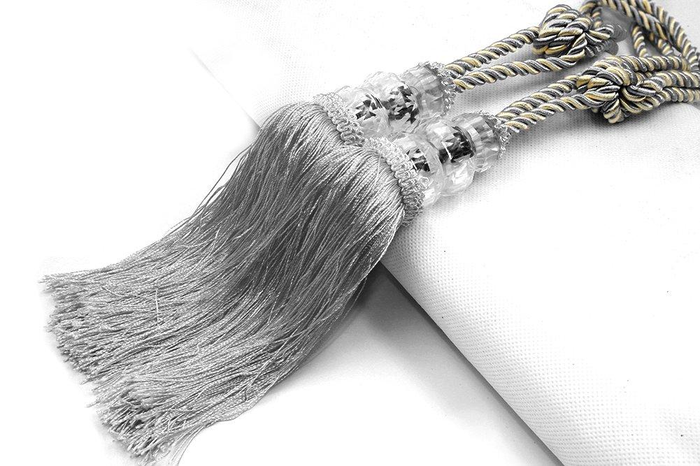 Kisstaker 1 Pair Crystal Beaded Tassels Tieback Curtain Cord Home Textiles Window Treatments Silver