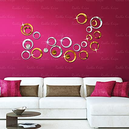 Buy 3D DeCor Acrylic Mirror wall stickers - RinGs 24 GolDen & Silver ...