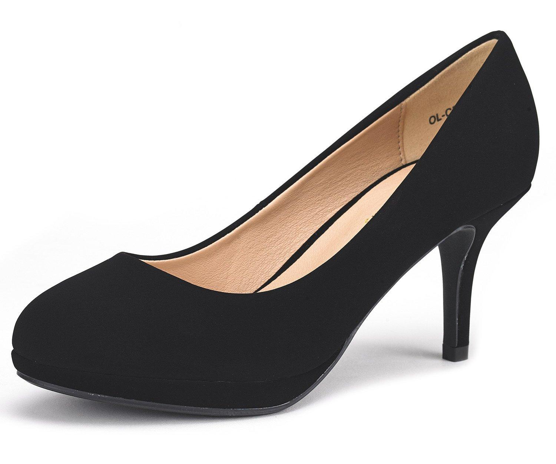 DREAM PAIRS Women's OL-CR Black Suede Low Heel Stiletto Pump Shoes - 8.5 M US