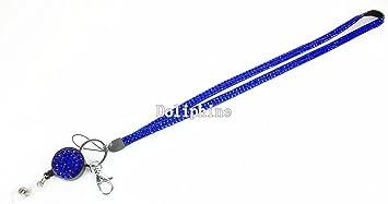 Multi Color Rhinestone ID Badge Retractable Reel Necklace LANYARD