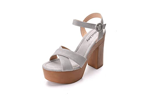 7b6cd5d482c Retro Wooden Style Platform Ankle Strap Adjustable Buckle with Chunky  Statement Sole Heeled Sandals for Women LALA