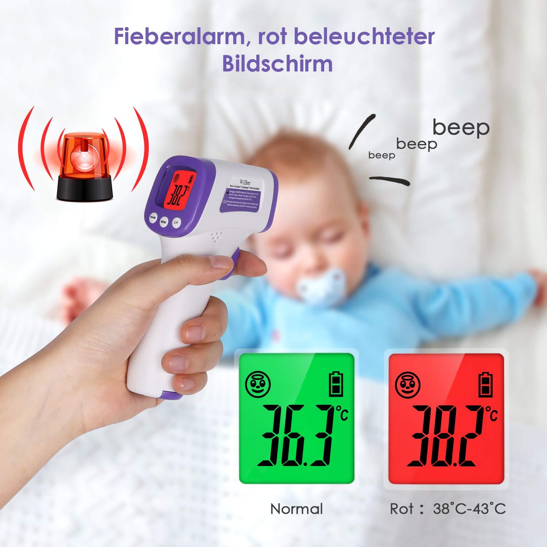 WilBee Das digitale Fieberthermometer mit Fieberalarmthermometer bietet 10 Arten von Speicher f/ür Kinder Erwachsene und Gegenst/ände
