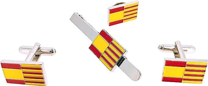 Pack de Gemelos para camisa Pasador de Corbata y Pin de solapa de la Bandera Cataluña y España: Amazon.es: Ropa y accesorios