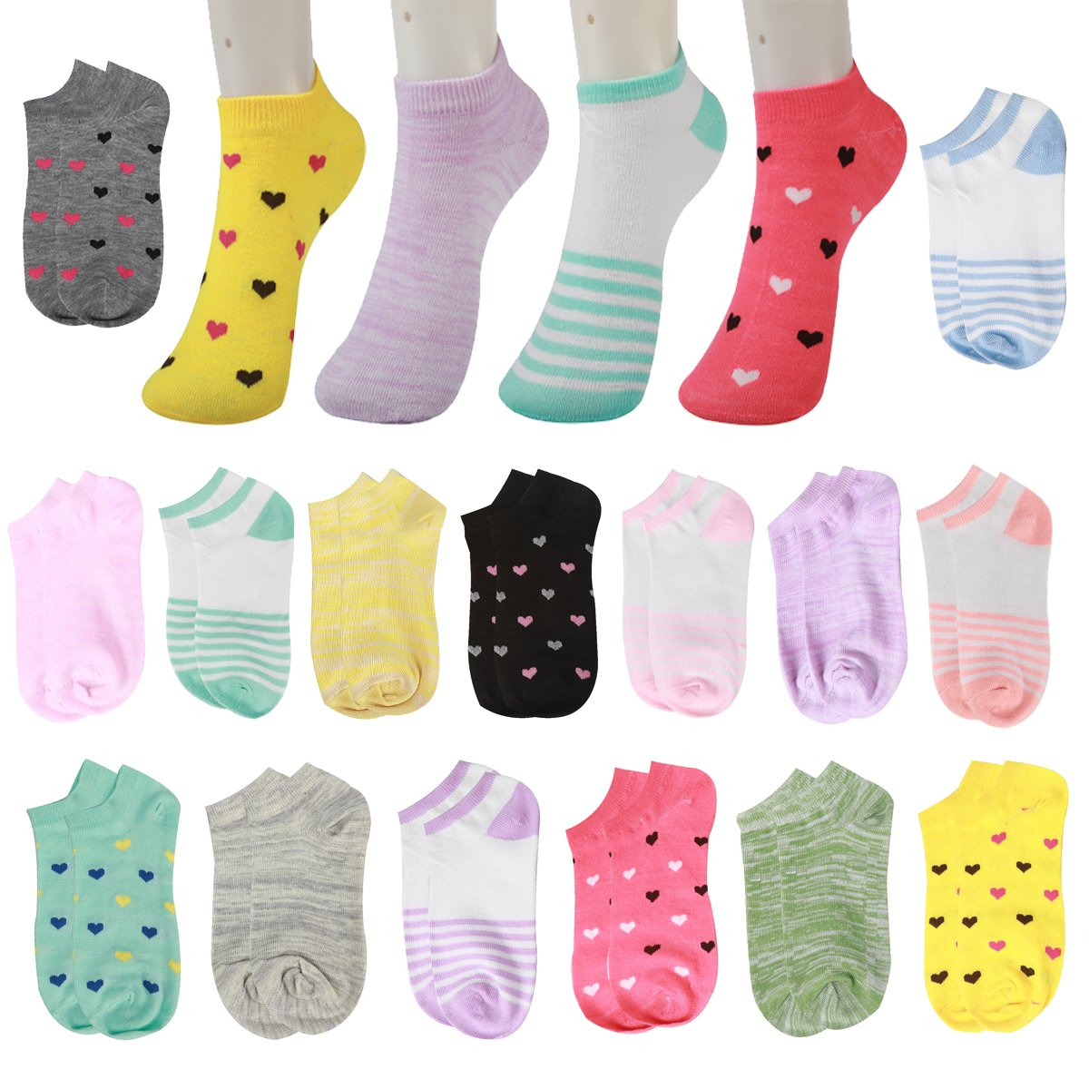 15 Pairs Love Colorful Patterned Cotton Low Cut No Show Ankle Socks Teens girls (Heart shape-15 pairs)