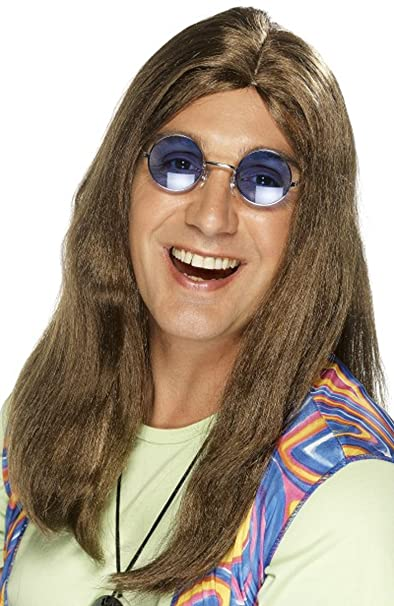 Para hombre 1960s Groovy Fancy Dress Party Neil Hippy peluca con lateral despedida Pelucas