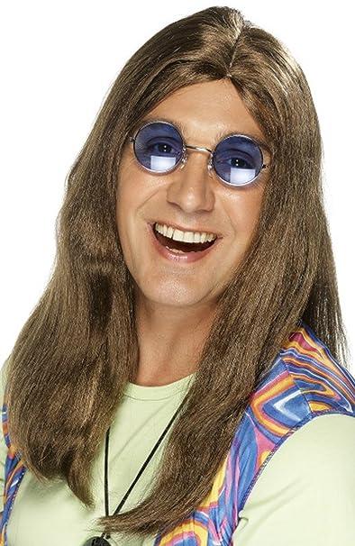 Para hombre 1960s Groovy Fancy Dress Party Neil Hippy peluca con lateral despedida Pelucas