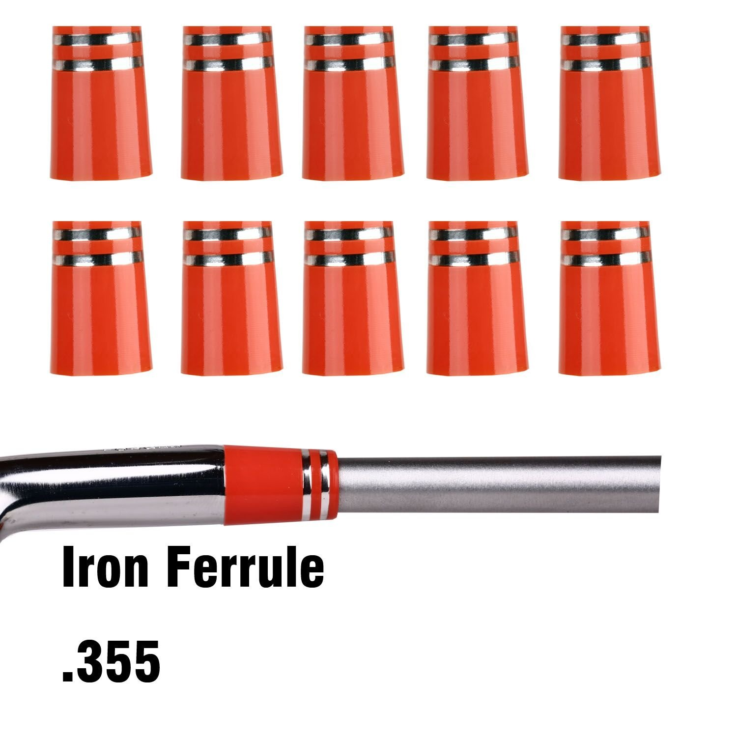 Sword &Shield sports 20pcs/pack golf ferrules .355 for Taper Tip Iron Wedge Orange with double silver rings