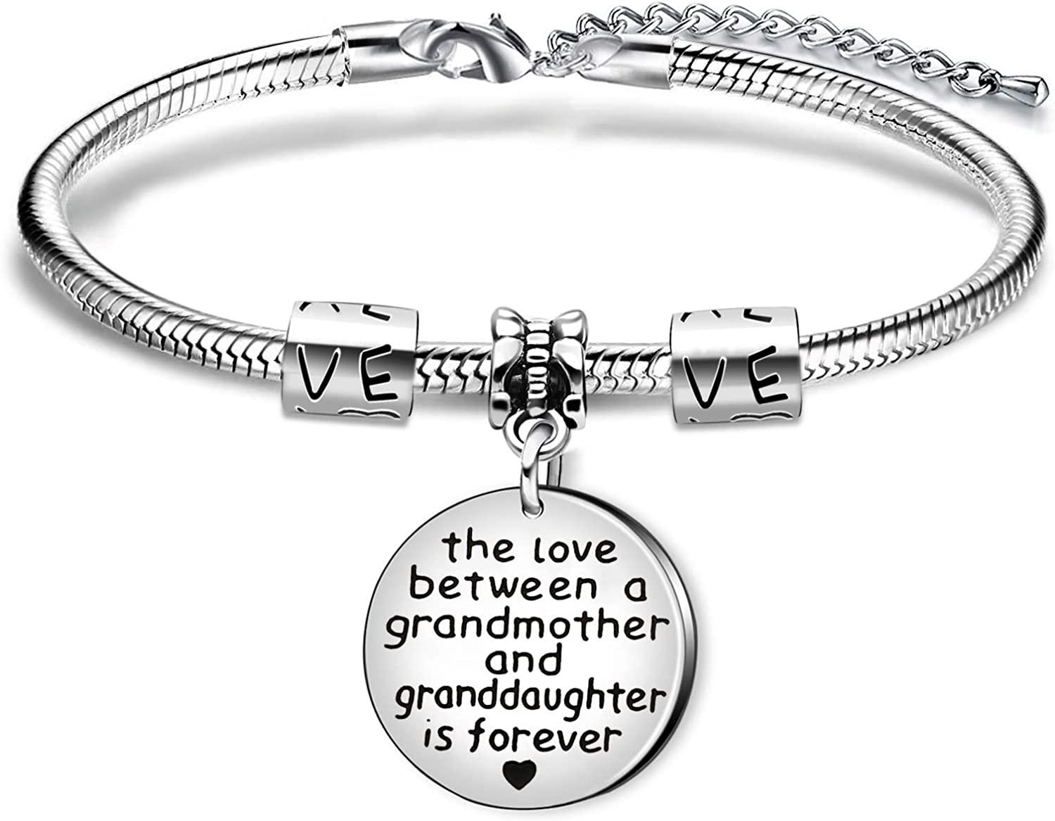 Grandmother and Granddaughter KENYG The Love Between A Mother and Daughter is Forever Round Shape Pendant Snake Bracelet Bangle for Mother