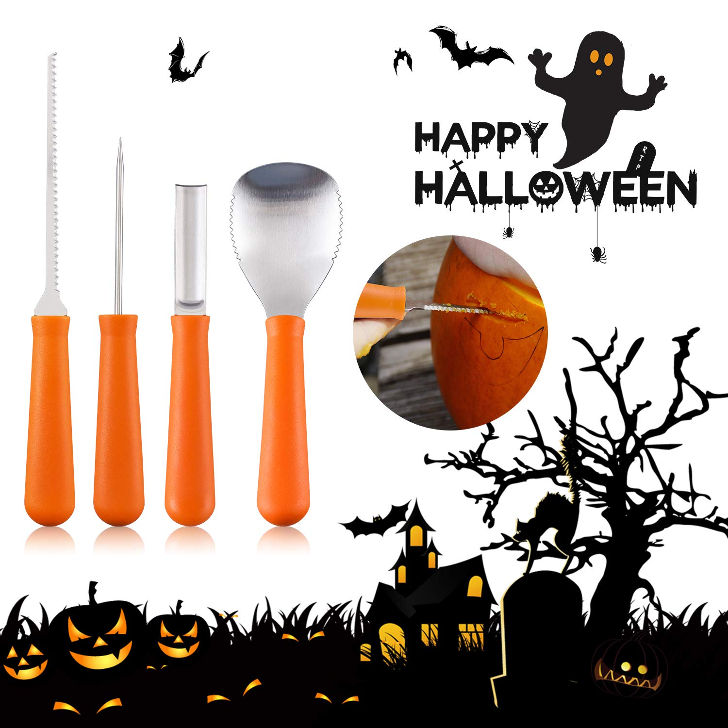 Pumpkin Carving Kit, 4 Pieces Heavy Duty Stainless Steel Pumpkin Carving Tools with 10 Carving Stencils, Ergonomic Design, Perfect for Adult and Children Halloween Decoration by Fantech (Image #3)