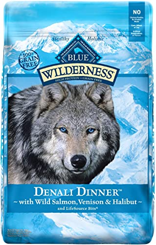 Blue Buffalo Wilderness Denali Dinner High Protein Grain Free, Natural Dry Dog Food with Wild Salmon, Venison Halibut