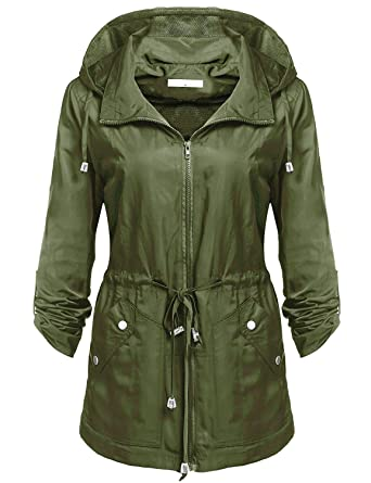 ebbba747aaf Elever Women s Detachable Hooded Drawstring Anorak Military Utility Jacket  Army Green S
