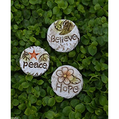 My Fairy Gardens Miniature - Peace HOPE Believe 3 Stepping Stone Pavers - Mini Dollhouse Supply Expressions: Garden & Outdoor