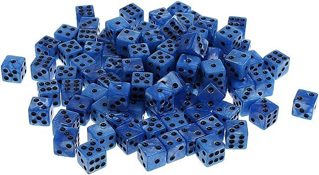 Hellery 100Pcs Dados De 6 Caras D6 1-6 Dados Puntuales para Juegos De Mesa De Juego De rol DND RPG MTG - Azul: Amazon.es: Juguetes y juegos