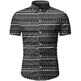 Comaba Mens Plus Size Tribal Pattern Casual Cowboy Blouses Tops Shirts
