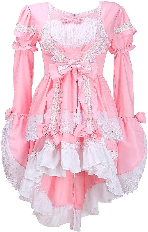 LATH.PIN Disfraz cosplay de lolita gótica para mujer, vestido de Cosplay para Mujer, disfraz de carnaval de chica del servicio rosa Rosa talla única