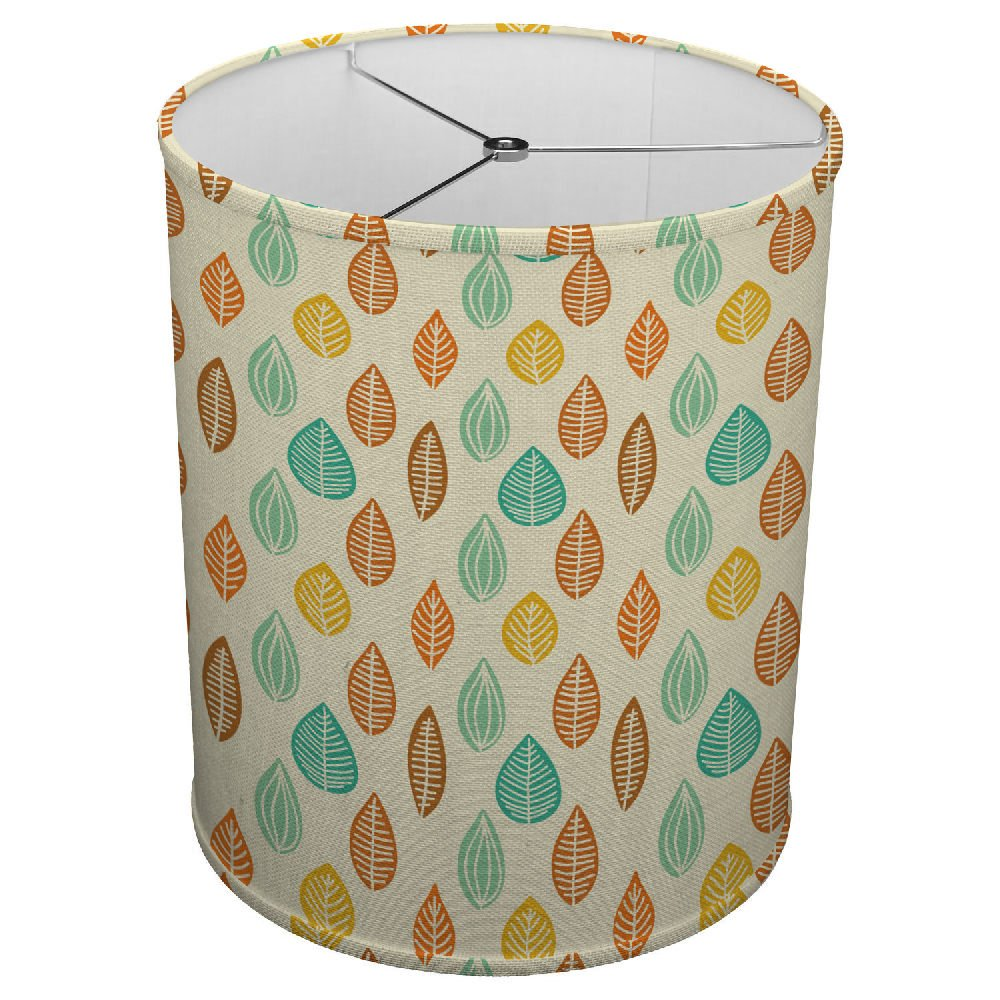 Hardback Linen Drum Cylinder Lamp Shade 8 x 8 x11 Spider Construction Autumn Colors Leaves