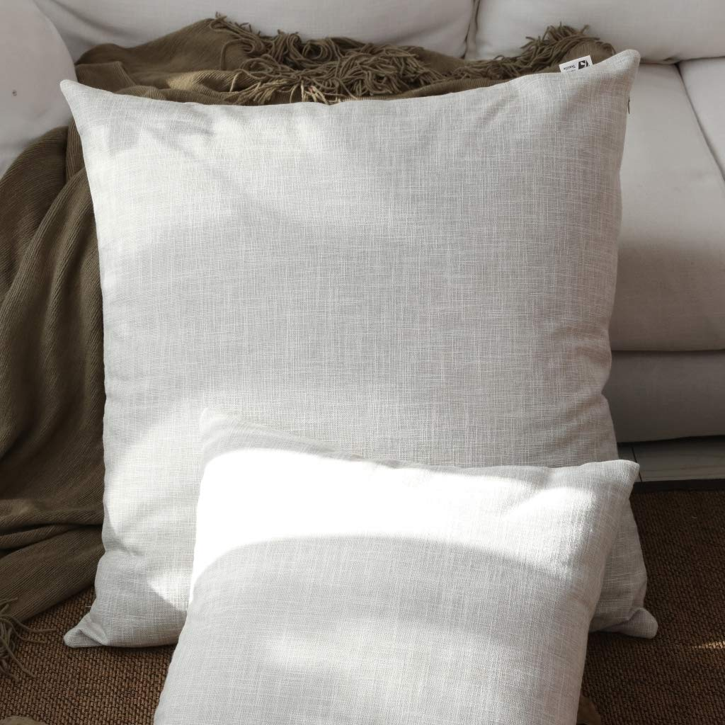 Kevin Textile Summer Decoration Linen Pillow Cover Square Euro Throw Pillow Case Sham Cushion Cover for Floor with Invisible Hidden, 26x26 inches(Set of 1, Light Grey)