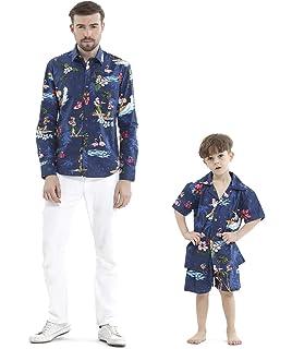 56c61ef6 Matching Father Son Hawaiian Luau Outfit Christmas Men Shirt Boy Shirt  Shorts Navy Santa Flamingo