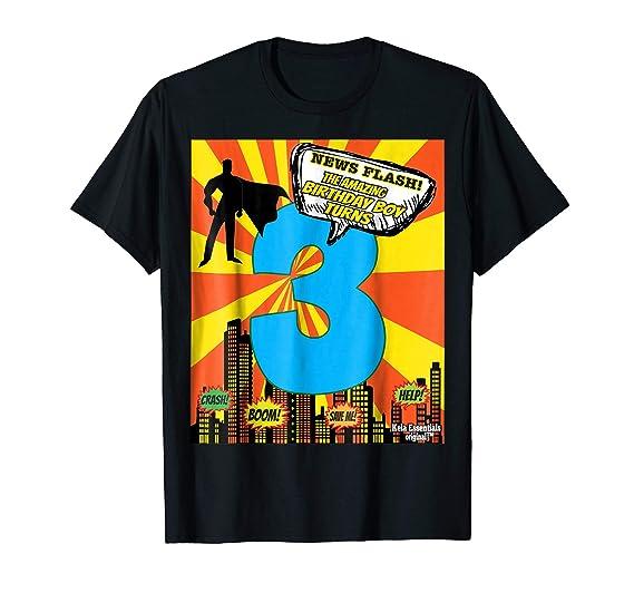 Mens Superhero Birthday Shirts For Boys Size 3 Three Toddler 2XL Black