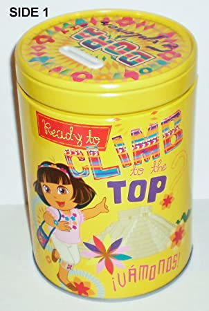 Dora the Explorer Ready to Climb Round Tin Bank with Easy-Off Lid