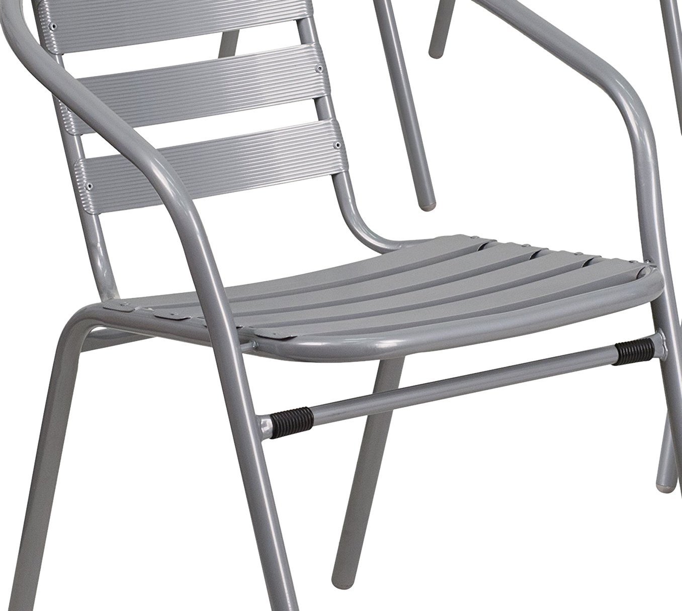 Flash Furniture 4 Pk. Silver Metal Restaurant Stack Chair with Aluminum Slats by Flash Furniture (Image #6)