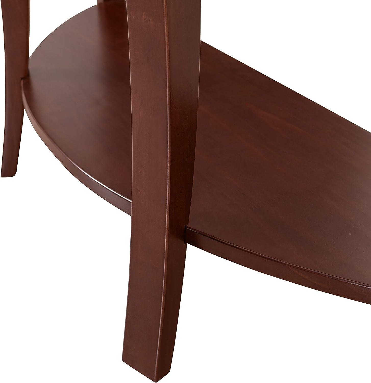 Black 48W Ravenna Home Anne Marie Round Wood Shelf Storage Curved Leg Entry Console Table